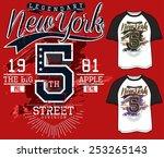 t shirt graphics new york sport ... | Shutterstock .eps vector #253265143