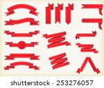 set of red ribbons.ribbon... | Shutterstock .eps vector #253276057