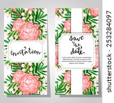 set of invitations with floral... | Shutterstock .eps vector #253284097