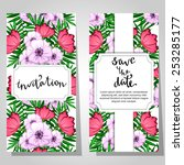 set of invitations with floral... | Shutterstock .eps vector #253285177