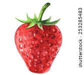 watercolor strawberry with... | Shutterstock .eps vector #253285483