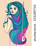 portrait of beautiful girl with ... | Shutterstock .eps vector #253289743