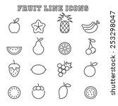 fruit line icons  mono vector...