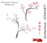 sakura ink landscape... | Shutterstock .eps vector #253341877