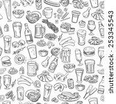 sketchy beer and snacks  vector ... | Shutterstock .eps vector #253345543