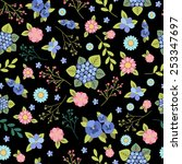 seamless floral wallpaper | Shutterstock .eps vector #253347697