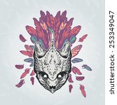 turtle skull on a plumage... | Shutterstock .eps vector #253349047
