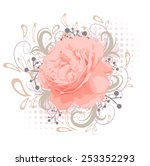 vintage abstract peony flower... | Shutterstock .eps vector #253352293