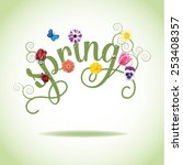 Spring Word  Flowers And...