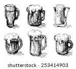 sketches of beer mugs isolated... | Shutterstock .eps vector #253414903
