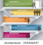 business plan with staircase.... | Shutterstock .eps vector #253446547
