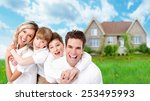 happy family near new home.... | Shutterstock . vector #253495993
