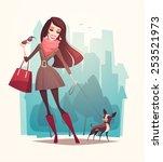 Pretty Girl Walking A Dog....
