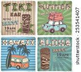 vintage aloha tik iconsi set... | Shutterstock .eps vector #253541407