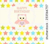 baby girl arrival card. baby... | Shutterstock .eps vector #253566757