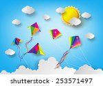 colorful kite flying on the sky.... | Shutterstock .eps vector #253571497