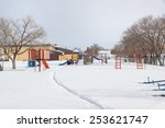 School Playground In Winter