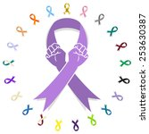 Постер, плакат: General cancer awareness ribbon