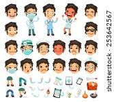 set of cartoon woman doctor... | Shutterstock .eps vector #253642567