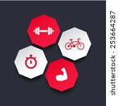 fitness app interface elements  ...