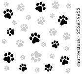 dog paw print seamless pattern... | Shutterstock .eps vector #253679653