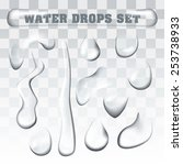 realistic water drops... | Shutterstock .eps vector #253738933