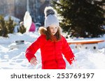 Small photo of Happy children play down in the snow