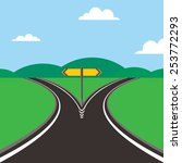 crossroad with direction sign | Shutterstock .eps vector #253772293