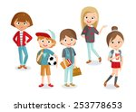 pupils boys and girls | Shutterstock .eps vector #253778653