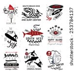 set of vintage surfing labels... | Shutterstock .eps vector #253784137