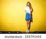 full length portrait of trendy... | Shutterstock . vector #253791433