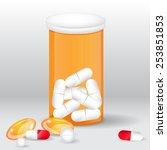 vector pills set  plastic bottle | Shutterstock .eps vector #253851853