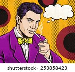 pop art man smoking cigarette... | Shutterstock . vector #253858423