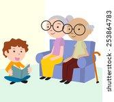child caring elderly  reading... | Shutterstock .eps vector #253864783