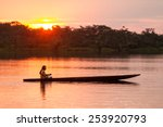indigenous adult man with canoe ... | Shutterstock . vector #253920793