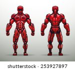 red cyborg soldier  vector