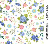 seamless floral background | Shutterstock .eps vector #253931527