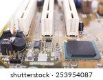 computer motherboard  macro view | Shutterstock . vector #253954087