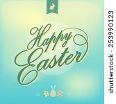 happy easter greeting card...   Shutterstock .eps vector #253990123
