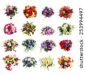 Set Of Colorful Bouquets Of...