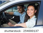 young couple smiling at the... | Shutterstock . vector #254000137