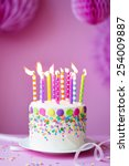 birthday cake against a party... | Shutterstock . vector #254009887