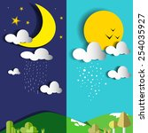 day and night or sun and moon... | Shutterstock .eps vector #254035927