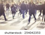pedestrian on zebra in motion...   Shutterstock . vector #254042353