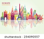 europe skyline detailed... | Shutterstock .eps vector #254090557