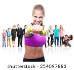young cool woman with a dumbbell | Shutterstock . vector #254097883
