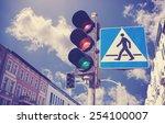 retro filtered photo of traffic ... | Shutterstock . vector #254100007