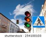 Traffic Lights And Pedestrian...