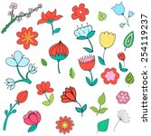 different color flowers vector... | Shutterstock .eps vector #254119237