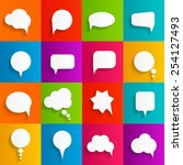 flat speech bubbles with long... | Shutterstock .eps vector #254127493